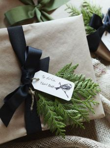 natural greenery fabric ribbon christmas gift wrapping tags bird stamp jute string