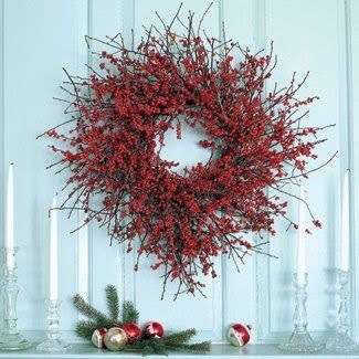 christmas wreath red holiday decor berries natural